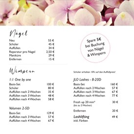 Mainz: Preisliste  - Amelia Beauty Lounge